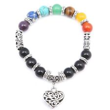 Lava Energy Natural Stone Pendant Chain Heart Jewelry 7chakra Bracelet Agate 10mm