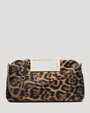 NWT Michael Kors Berkley Leopard-Print Clutch  in leather+calf hair w/ goldtone