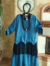 8087 LABASS Lagenlook Kunstleder Kurz Shirt Wellen petrol blau L XL 44 46 48