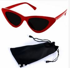 Cat Eye Sunglasses Black Frame Black Lens Shades with Pouch - RED/BLACK