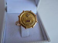 Ancienne Bague Médaille d'Amour AUGIS Or Jaune 18K 750 +qu'hier -que demain T.56