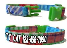 Personalized Stripes Squares Kitty Cat Safety Collar Breakaway Buckle Adjustable