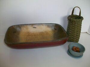 "Primitive Wooden Trencher Dough Bowl 9.75"" Hand Painted & Basket Set"