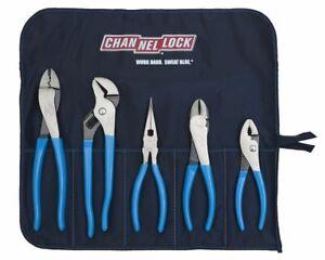 Channellock 5pc Technicians Plier Set Tool Roll-1 Crip Cutter Long Nose T&G USA