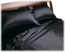 Queen Fitted Bed Sheets Satin Soft Silk Luxury Bedding Comfortable Sheet 4pc Set