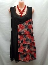 JOANNA MORGAN BLACK RED LAYERED TUNIC TOP SMART CASUAL/PARTY SIZE S