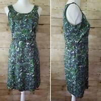 Ann Taylor Loft Womens 4 Sleeveless Floral Rose Dress Blue Green Short Career