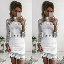 Womens Long Sleeve Hollow Lace Spring Bodycon Cocktail Evening Party Mini Dress White 8