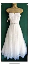 MONSOON Wedding Dress Irina size 12 Ivory Lace Tea Length Vintage 50s NWT £349