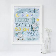 Geburtsbild / Namensbild / Geburtsanzeige (Geschenk, Geburt, Taufe) ELEFANT