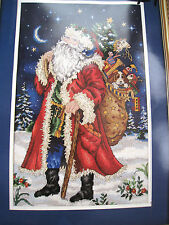 Christmas Dimensions GOLD Holiday Needlepoint PICTURE Kit,SANTA AT HIS BEST,9112