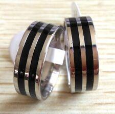 Job lot 50x Black Enamel Silver Stainless Steel band rings Men Fashion Jewelry