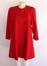 Vintage 1980s Red Wool Swing Evening One Button Knee Length Coat Sz M MINT
