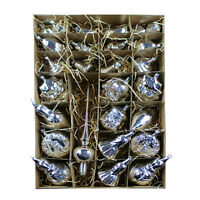 27er Christbaumschmuck Set Silber #3  Weihnachtskugeln, Mundgeblasen Lauscha