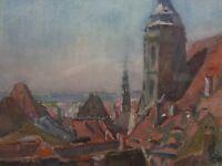 ::ALEY SCHAUFF *1881 ROTTWEIL MISCHTECHNIK GEMÄLDE SIGNIERT VERSO HISTORIE ANTIK