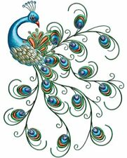 """Metal Peacock Wall Art Large 30"""" Home Kitchen Outdoor Patio Decor Blue Accent"""