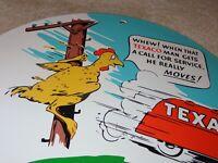 """VINTAGE TEXACO CHICKEN & TANKER TRUCK 11 3/4"""" PORCELAIN METAL GASOLINE OIL SIGN!"""