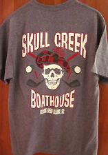 SKULL CREEK BOATHOUSE med tee Golf Skull & Crossbones T shirt Hilton Head