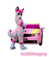 Sexy Long Fur pink Husky Mascot Costume Fox Dog Adult Fancy Suits Cosplay Dress
