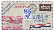 1950 Argentina PAA FFC by Clipper Stratocruiser to NY w/ Label & Cinderella*