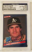 Jose Canseco Autograph 1986 Donruss Rated Rookie #39 PSA/DNA Authentic