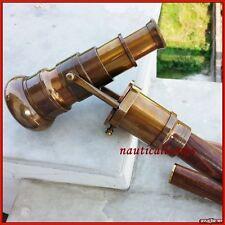 Walking Telescope Handle Cane Brass Wooden Stick Folding Hidden Spy Authentic