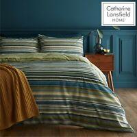 Catherine Lansfield Ravenna Stripe Reversible EasyCare Duvet Cover Bed Set Green