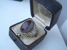 SUPERB VINTAGE SOLID STERLING SILVER MOSS AGATE SIGNET RING SIZE U 10 RARE HEAVY