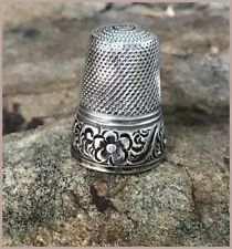Vintage Sterling Silver French Thimble Ornate Flower Band