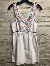 American Eagle Women's Size 0 XSmall XS Dress White Embroidered Aztec Print