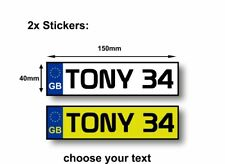 2x STICKER PERSONALISED plates for kids cars size 150x40mm square