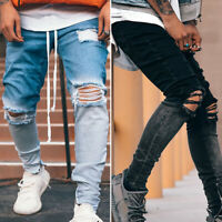 Mens Skinny Ripped Jeans Fashion Stretch Denim Pants Destroyed Slim Fit Trousers