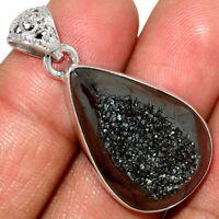 Platinium Titanium Aura Druzy 925 Sterling Silver Pendant Jewelry AP189485 XGB