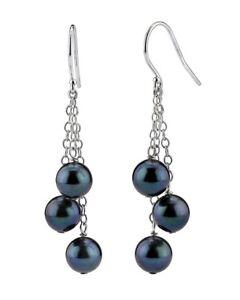 Black Akoya Pearl Cluster Earrings