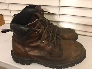 RED WING 2211 Dyna Force Brown Leather Work Boots Men's 9 Steel Toe GUC!