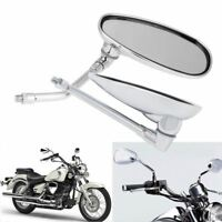 10MM Motorcycle Chrome Rearview Side Mirrors for Kawasaki Suzuki Cruiser Scooter