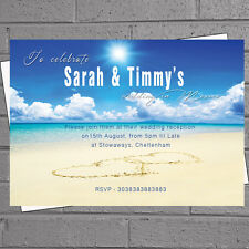 Heart in Sand Beach Wedding Abroad Evening Day Reception Invitations x12 H0608