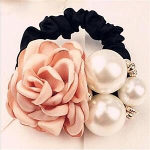 Women Flower Pearl Ponytail Holder Hair-Band Hair Accessories Rope Elastic 6N