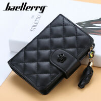 RFID Blocking Women Leather Wallets Bifold Zipper Card Holder Mini Purse Handbag