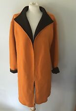 EILEEN FISHER Wool Cotton Long Sweater Jacket Coat Duster Orange & Brown Sz S