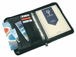 A4 Conference Portfolio Presentation Folder Folio Leather Zip Ring Binder 7017BK