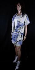 100% Seide Kostüm Wickelrock 2 PC Woven Silk Skirt Suit Tommy Bahama Blue Sz S