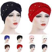 Women Turban Head Muslim Cancer Chemo Cap Hijab Beads Braid Lady Wrap Hat Cover