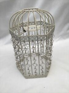 """HEXAGONAL BIRDCAGE LIGHT SHADE WITH A CREAM FINISH AND JEWELS 9.5"""" TALL"""