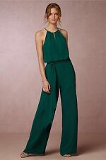BHLDN Jackie Jumpsuit Size 12 Donna Morgan Wedding Cocktail Emerald $240 NWT