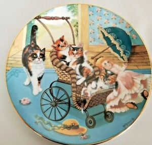 """Cat Kitty Collector Plate """"Stroller Derby """" Country Kitties Artist Gre Gerardi"""