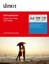 A4 Self Adhesive Photo Paper  High Glossy Sticky Inkjet Paper 135Gsm -100 Sheets
