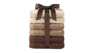 Morgan Home 6 Pack Soft Terry Cotton Wash Cloths Rags Multi Color Washcloths