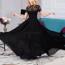 Sexy Women Short Sleeve Black Lace Dress Party Cocktail Maxi Dress Full-Length