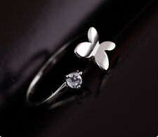 Silver tone butterfly and crystal open ring, UK size M